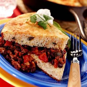 Jalapeno Cornbread Shortcake with Black Bean Chili