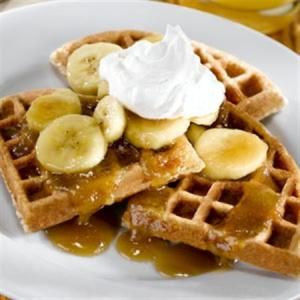 Bananas Foster Waffles with Ginger Whipped Cream