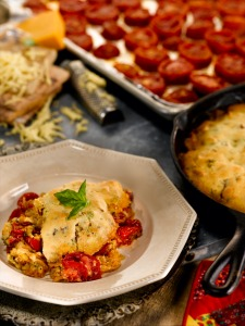 Roasted Tomato and Bacon Cobbler