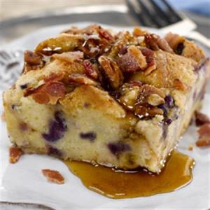 Blueberry French Toast Bread Pudding with Smoky Bacon