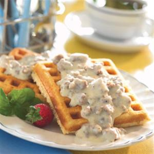 Corn Meal Waffles with Sausage Gravy
