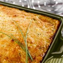 Three Cheese and Chive Corn Pudding