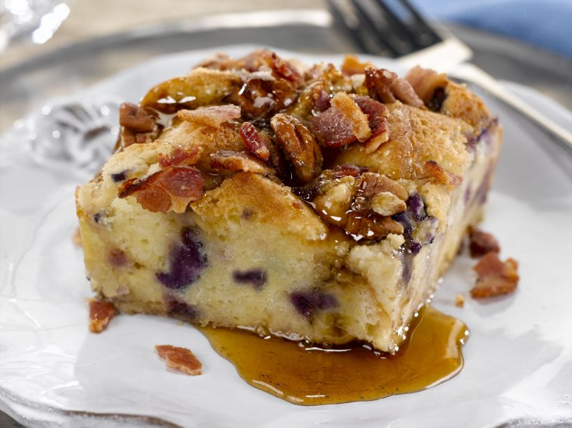 Blueberry French Toast Bread Pudding with Smoky Bacon Highlights Winter Brunch