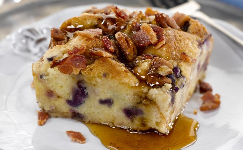 Blueberry French Toast Bread Pudding with Smoky Bacon Highlights WinterBrunch