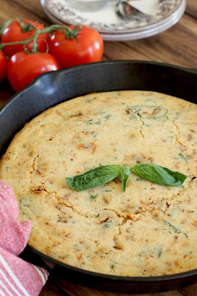 The Country Cook - Caprese Skillet Cornbread 02