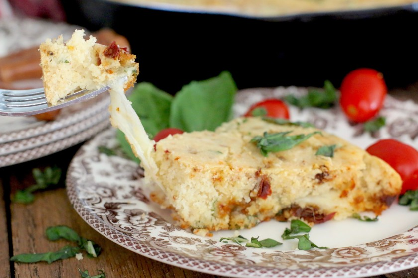 The Country Cook - Caprese Skillet Cornbread 03