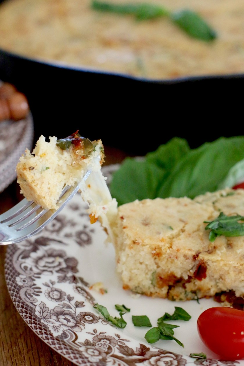 The Country Cook - Caprese Skillet Cornbread 09
